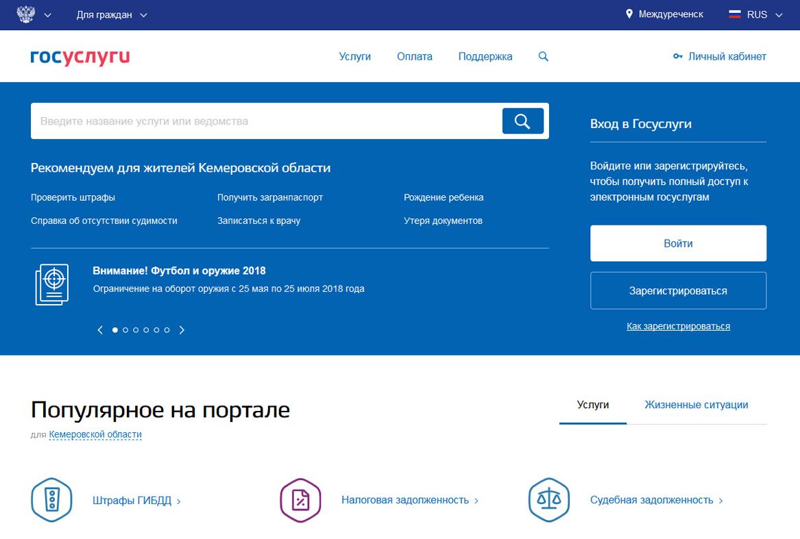 Пройти регистрацию на портале государственных услуг